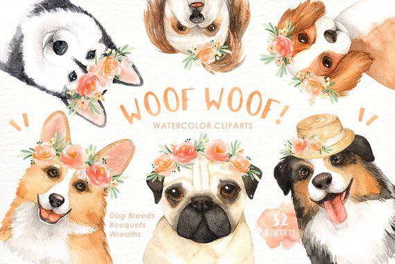 Woof Woof Dogs Lover Cliparts Woodland Animals Kids Clipart Dog