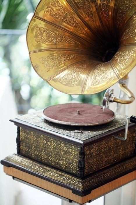 gramophone -I got me one of these, inherited from my mom. His Master's Voice