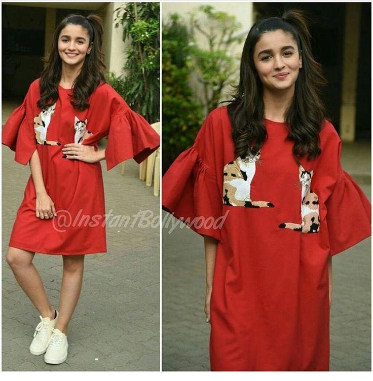 Alia bhatt# looose casual look # tunic dress# red love