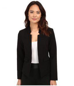Ellen Tracy Inverted Rever Jacket (E Black) Women's Jacket