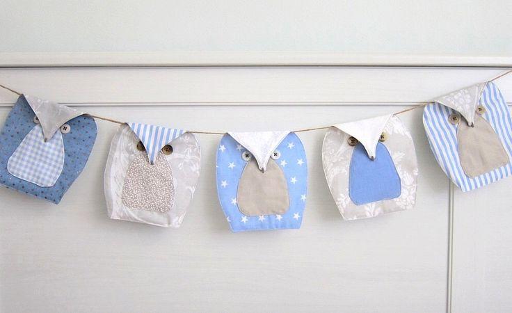 blue owls Bunting (5), Owls Garland, Owls Nursery Bunting - Blue, beige and white by SableEtMer on Etsy https://www.etsy.com/listing/233824377/blue-owls-bunting-5-owls-garland-owls