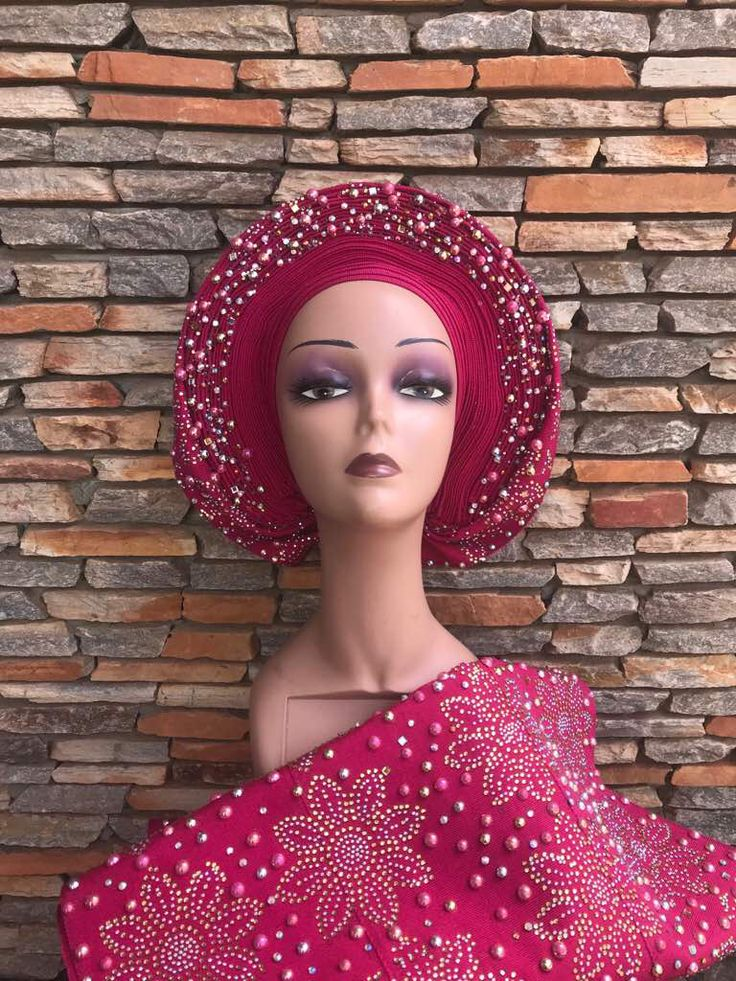 Autogele Set with wrapper, PreTied Embellished gele with