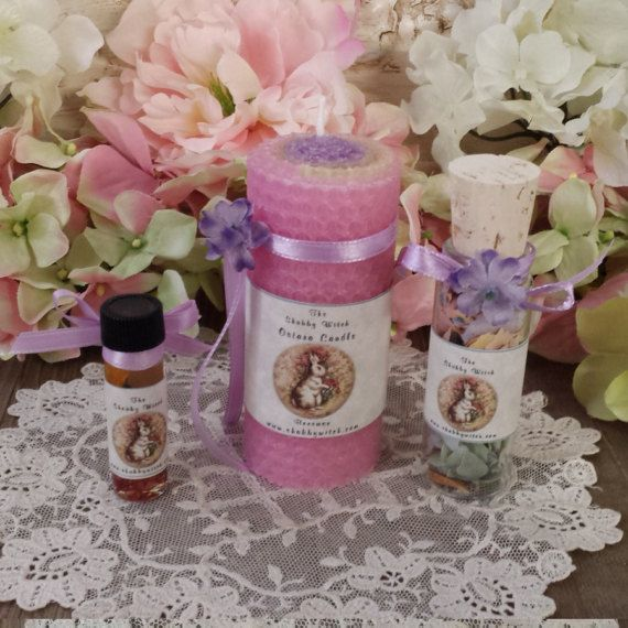 Ostara Candle & Oil  Set Ostara  Ritual Kit  by TheShabbyWitch