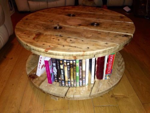 Reclaimed industrial solid wooden cable drum / reel table, shabby chic