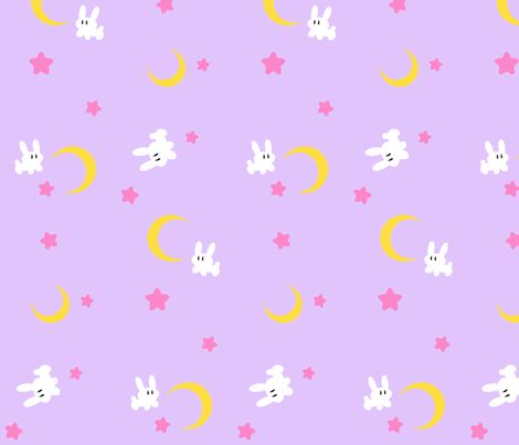 Sailor moon bed spread fabric by lovelylatte on for Moon pattern fabric
