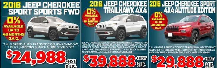 2016 Jeep Cherokee Sport Sports FWD, 2016 Jeep Cherokee Trailhawk 4X4 and 2016 Jeep Cherokee Sport 4X4 Altitude Edition is available for sale in Toronto, Canada at reasonable budget.