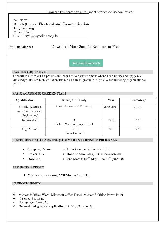 Cv Word Document Format Sample Resume Format Job Resume Format