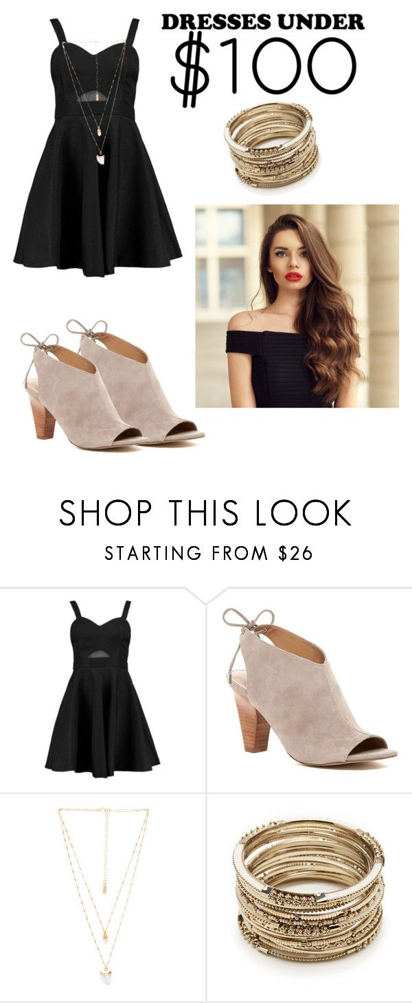 """Under $100//dresses"" by madikw-2 ❤ liked on Polyvore featuring Boohoo, Franco Sarto, Natalie B and Sole Society"