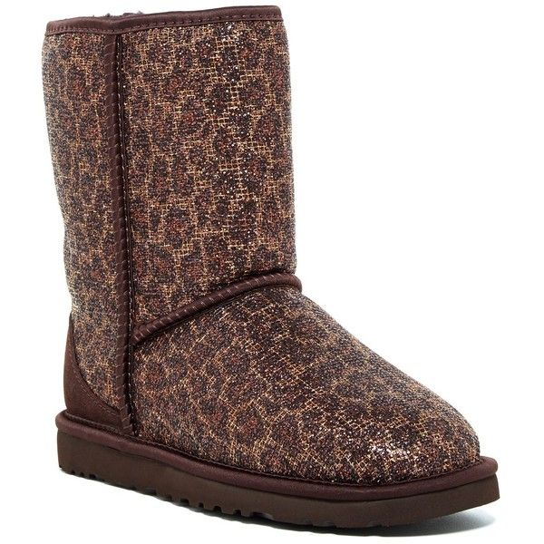 UGG Australia Classic Glitter UGGpure(TM) Short Boot ($94) ❤ liked on Polyvore featuring shoes, boots, ankle booties, ankle boots, brz, suede booties, ugg® bootie, leopard booties, short boots and leopard ankle boots