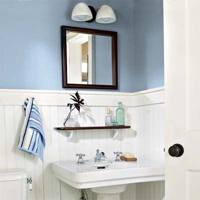 What to use on: Bath - Semigloss  The traditional sheen for wet areas, the shiny surface is easy to clean. Choose one with mildewcide.   Lulworth Blue, about $79.50 per gallon; Farrow  Ball