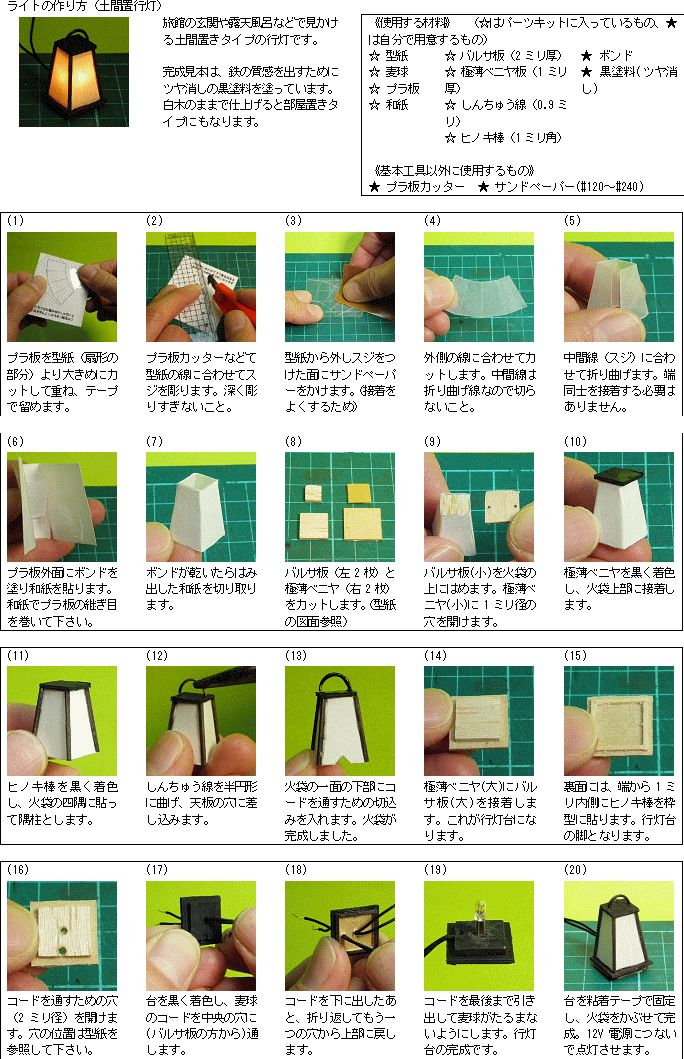 ミニチュアライトの世界-ライトの作り方-土間置行灯