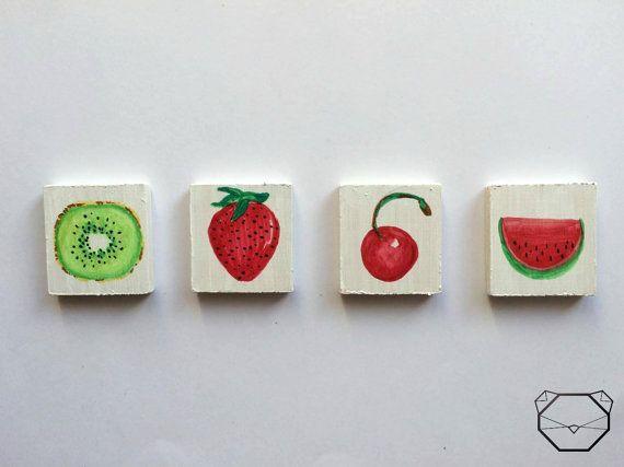 Summer fruits  Fruit Magnets  Strawberry  Cherry  by KubuHandmade