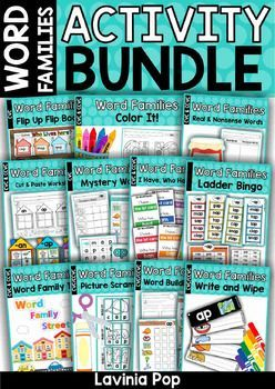 FREE Word Families Activity BUNDLE. Lots of printable word work activities and games for literacy centers!
