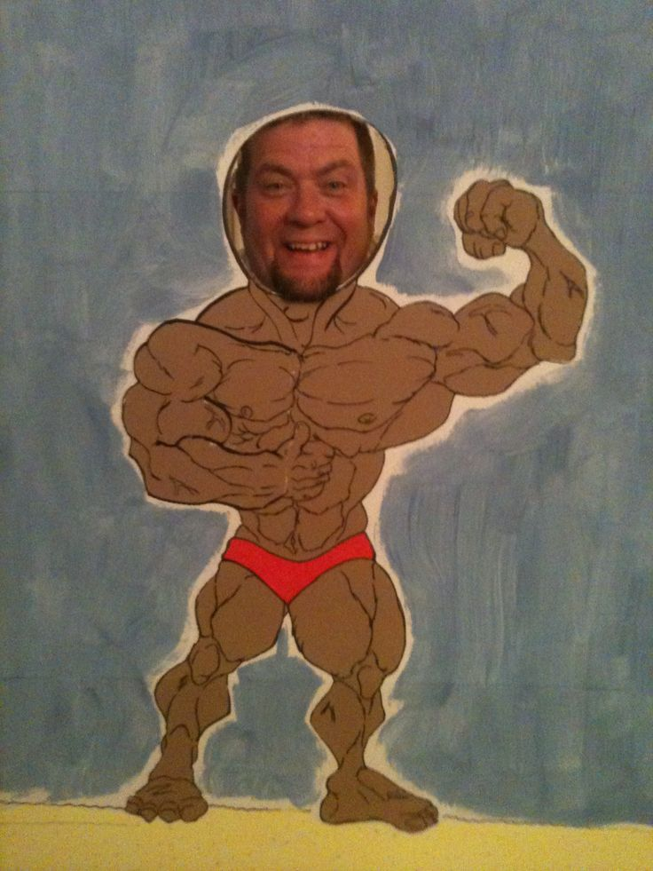 Muscle Man Themed Birthday Party Face Cut Out Did It