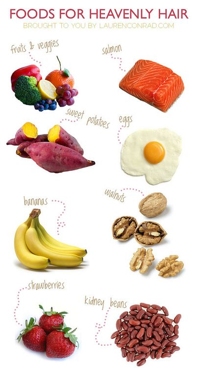 1) Fruits and dark green veggies.2) Foods with omega-3 fatty acids. 3) Foods that produce beta-carotene. 4) Beans. 5) Foods rich in cysteine. 6) Nuts. 7) Whole grains. 8) Oysters 9) Low fat dairy. Calcium is important mineral for hair growth 10) Foods containing silica.
