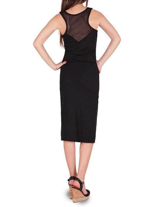 Φόρεμα μίντι αμάνικο με δίχτυ στην λαιμόκοψη