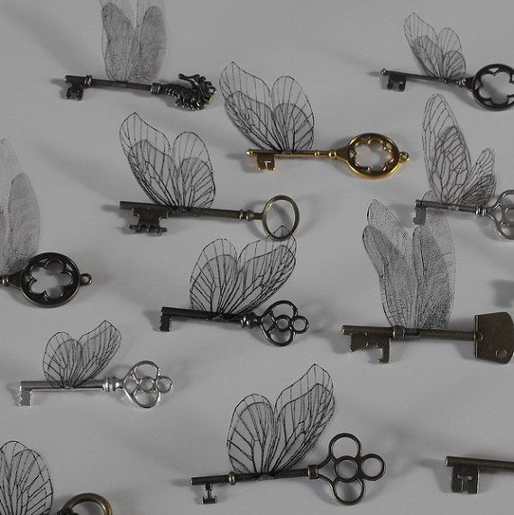 5 x keys with wings various types and sizes by BedlamitesBoutique