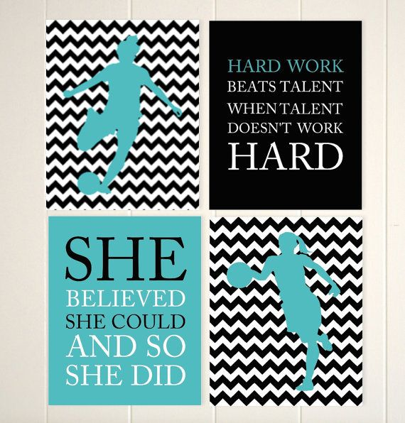 Girls soccer, girls basketball wall art, girls motivational sports quotes, she believed she could, teen bedroom wall decor, chevron, teal