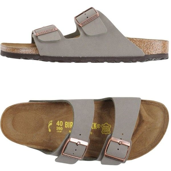 Birkenstock Sandals ($95) ❤ liked on Polyvore featuring shoes, grey, rubber sole shoes, birkenstock footwear, round toe flat shoes, flat shoes and round cap