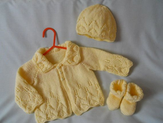 Hand Knitted Baby Coat Jacket and Hat shoe Set