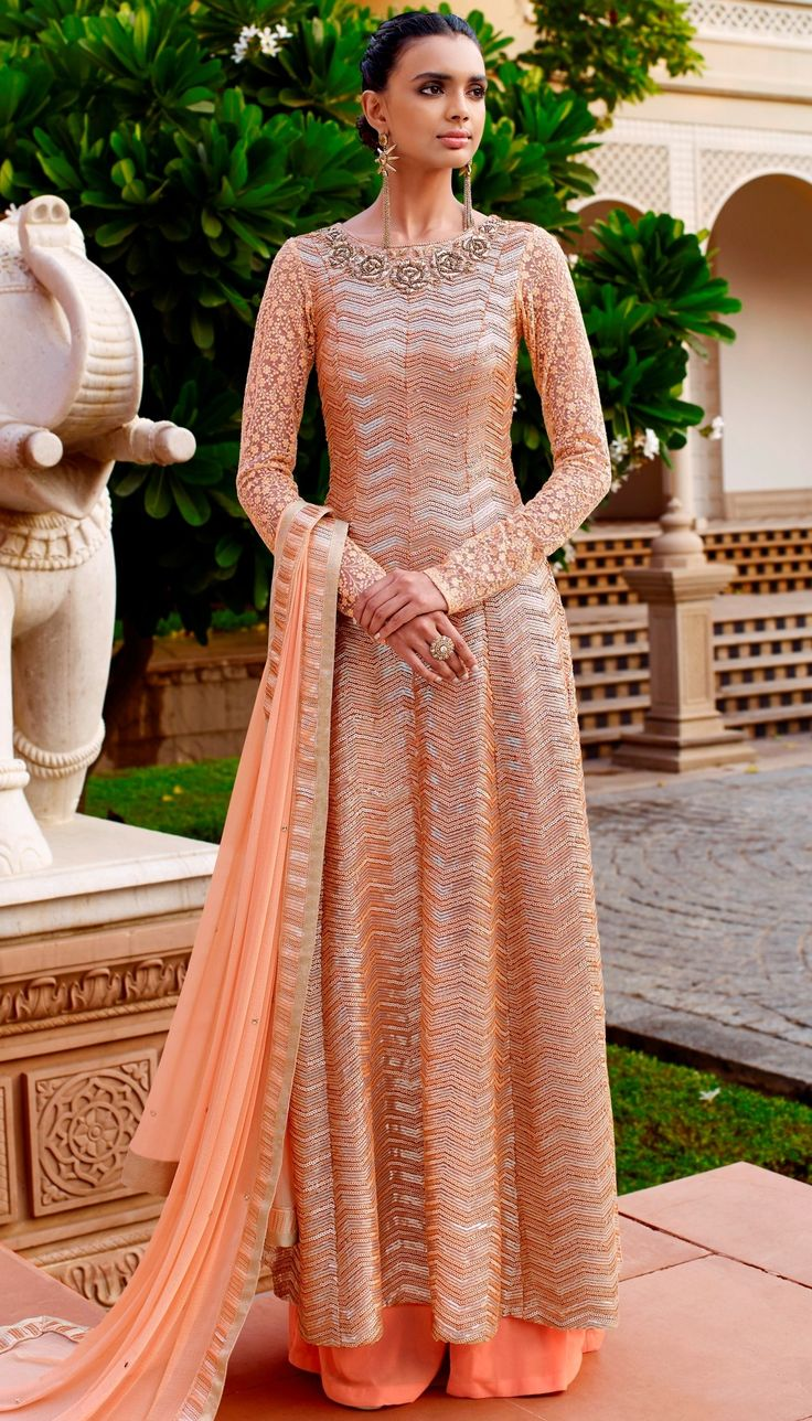 Peach Net Beautiful Sequence Embroidered Work Long Anarkali Suit With Chiffon Dupatta