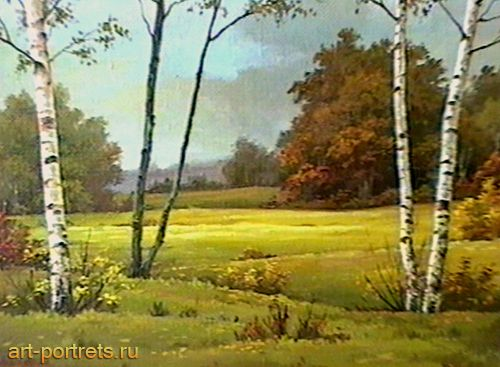 Lyrical landscape reflects the atmosphere of the upcoming autumn, is painted in the mid 1990s.