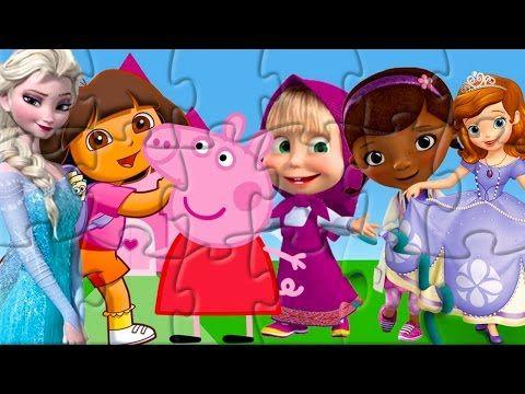 Rompecabeza Dora Peppa Pig Doctora Juguetes Princesa Sofia Masha Frozen Puzzle Game for Kids - YouTube