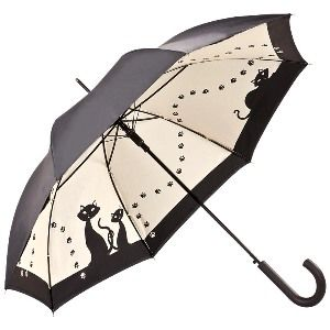 Von Lilienfeld  Double frame umbrella - the motiv is fully visible to the user, but the umbrella is an elegant black on the outside  Two nimble black cats pose on this umbrella - and have just left their paw marks on it!