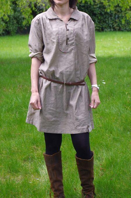 """Robe-tunique issue du modèle Y du livre japonais Otona """"Stylish Dress Book 2"""" (ref n° 175 sur JCA, équivalent traduit 175-fr """"Ma Petite Garde Robe""""), Grains de Maïs"""