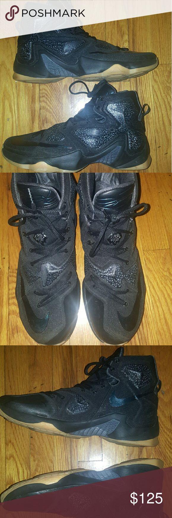 Nike LeBron 13 Like New Size 13 Black and Gum fits like a size 12 Nike Shoes Sneakers