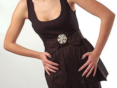 Wear Brooch on Dress