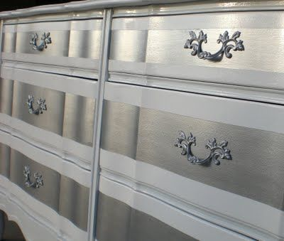 Would be amazing if we painted Kate's dresser like this. Silver striped dresser - Parlour: Pretty Girl