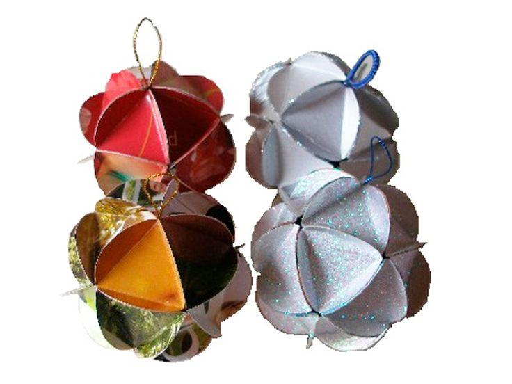 esferas con cartón de tetrabrick
