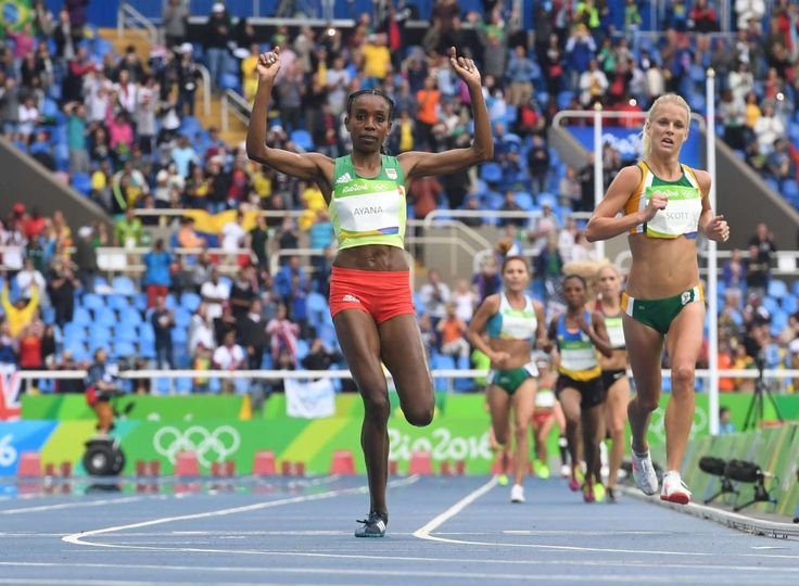Track and field at the Rio Olympics  -    Almaz Ayana of Ethopia celebrates as she crosses the finish line to win gold in the women's 10000 with a world record timel at Estadio Olimpico Joao Havelange during the 2016 Rio Summer Olympic Games.
