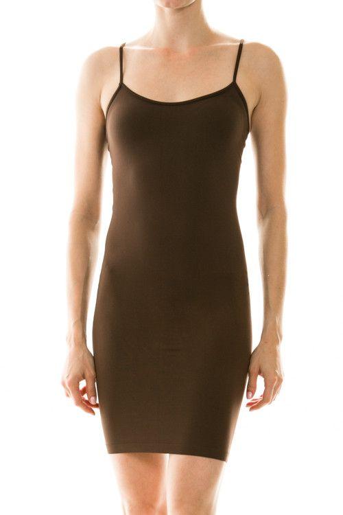 Brown Cami Slip Dress-CAM011BR