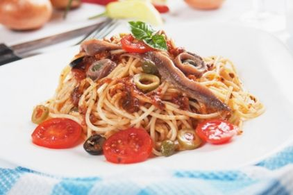 Ingredients: 500 gr. spaghetti  15g. (About oz.) Dried porcini mushrooms  8 large anchovy fillets chopped  1 pound canned tomatoes peeled and chopped, with their juice  150g. black Kalamata olives, pitted and chopped  1 ½ tablespoon drained capers  2 onions, chopped  4-6 cloves garlic, chopped  2 tablespoons tomato paste  1 teaspoon dried oregano  1 teaspoon dried basil  1/8 teaspoon red piperosporoi thin