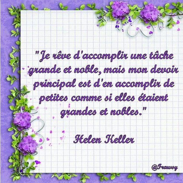 Bon Jeudi - Une Citation d'Helen Keller. Merci de vos ...