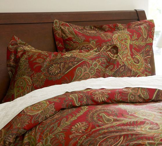 Caroline Paisley Duvet Cover Twin Red Holiday
