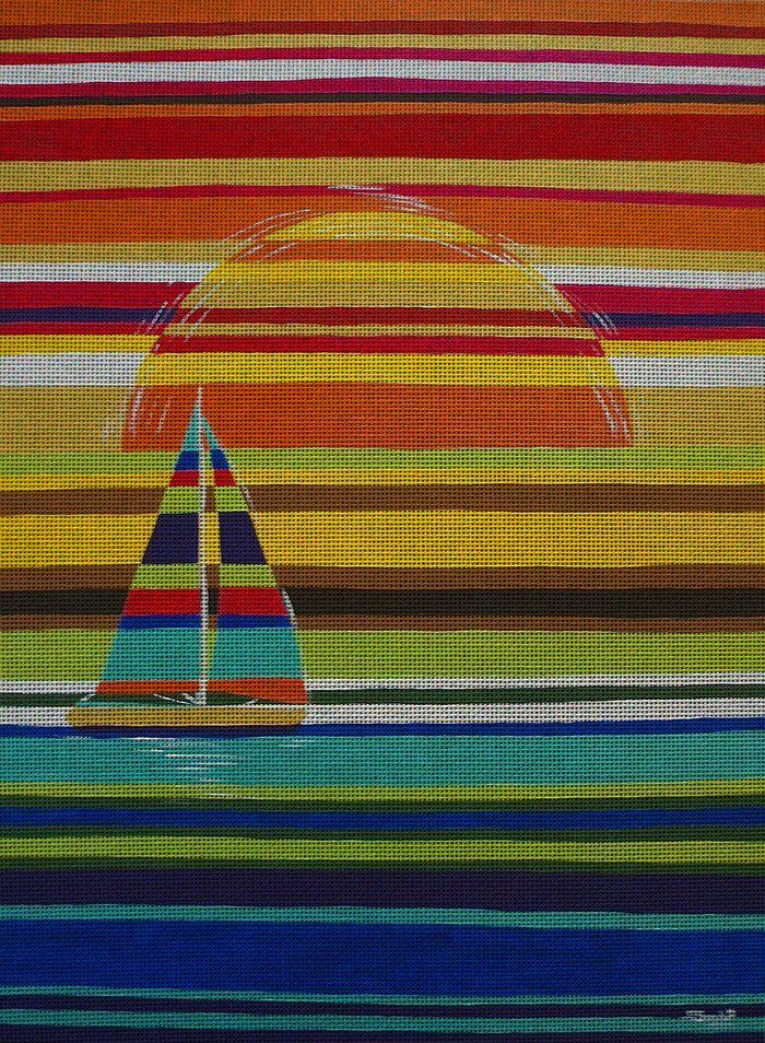 Needlepoint canvas 'Striped sunset.Yacht'