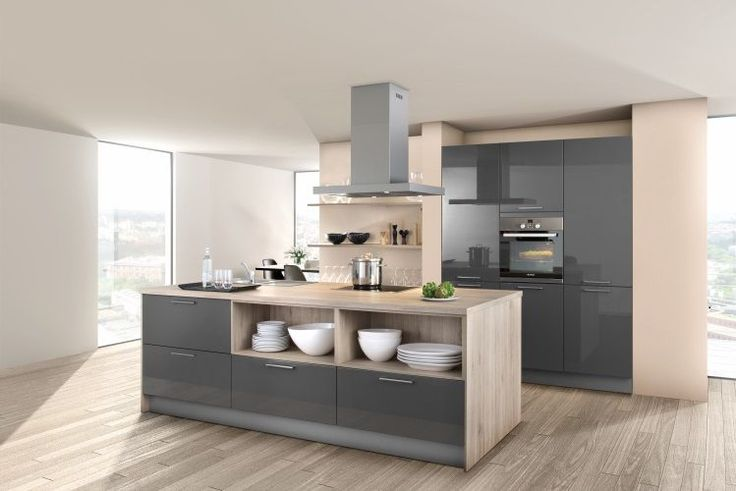Lava grey high gloss lacquer kitchen