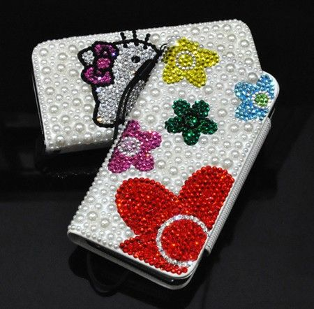 Luxury Pearl Swarovski Crystal Leather Wallet Case for iphone 5 case - Beautiful Flower