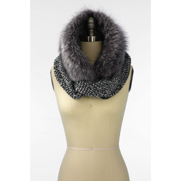 Lands' End  Women's Fur & Knit Infinity Scarf ($64) ❤ liked on Polyvore featuring accessories, scarves, fur infinity scarf, circle scarf, knit shawl, knit scarves and infinity scarf