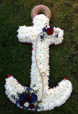 Fresh Flower Funeral Tribute 3ft Anchor Delivery West Sussex Only