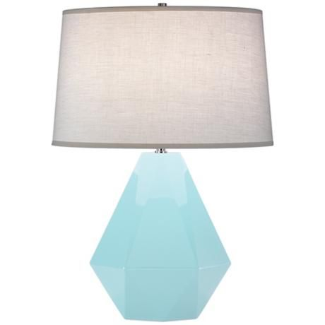 Robert Abbey baby blue table lamp - I love this design and it comes in every color of the rainbow...