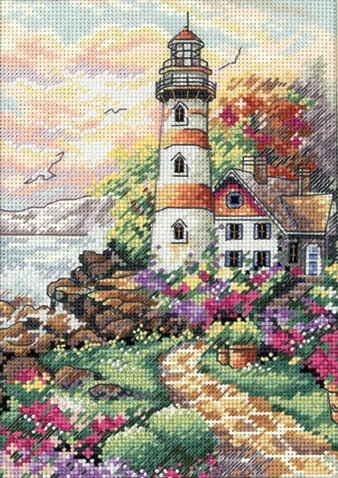 cross-stitching. Lighthouse. Irene is doing this kit.