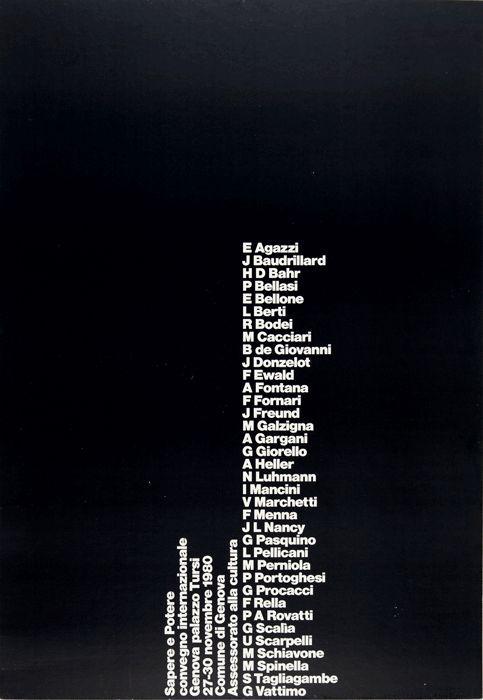 SAPERE E POTERE Convegno internazionale Genova, Palazzo Tursi novembre 1980 (manifesto A.G. Fronzoni)