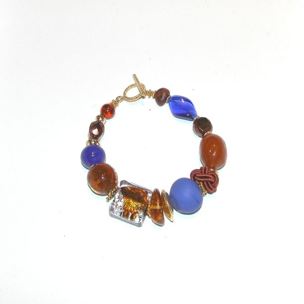 Murano Glass Bracelet Cobalt/Blue/Gold