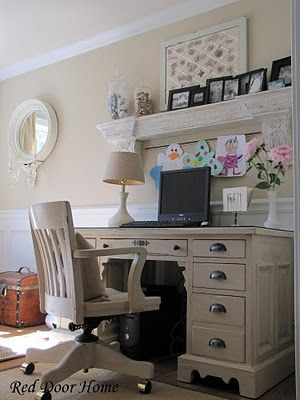A repainted desk with new hardware looks amazing in this home office: Desk Area, Red Doors, Office Ideas, Family Homes, Decor Ideas, Desk Redo, Home Offices