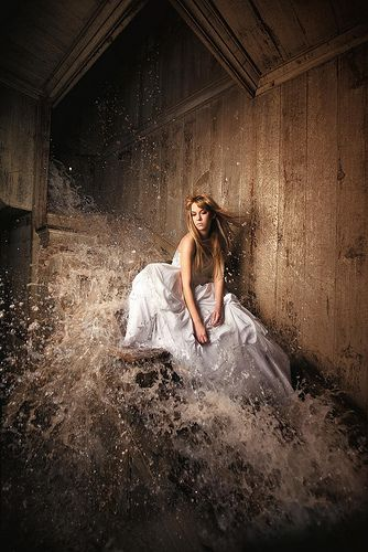 ...she stays on the stairs as the water comes crashing madly down around her, and she thinks this time she's not going to leave it, this time she'll just let it be...