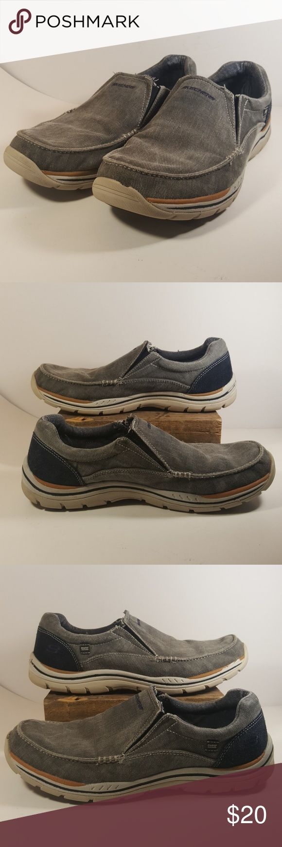 Skechers Men's Relaxed Fit Expected Avillo Sz 10.5 Canvas, Imported, Rubber sole, Casual slip-on shoe featuring lightly padded collar and concealed gored insets at entry Embroidered log Skechers  Men's Relaxed Fit Expected Avillo Loafer Black Slip On  Size 10.5 Cushioned memory foam footbed  Very good condition.  Feel free to ask any questions  Please check my other listings, I have more shoes and clothes for the whole family.  Thank you and have a great day. Skechers Shoes Sneakers